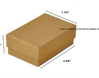 """100 Kraft Cotton Filled Jewelry Packaging Craft Gift 2 Piece Boxes 2 5/8"""" x 1 1/2"""" x 1"""""""