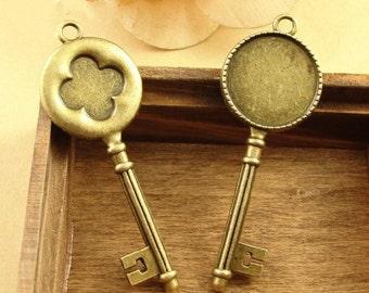 20pcs 20mm Antique Bronze Cabochon Pendant Base, Key  pendant setting (3020021)