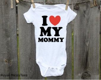 I love my Mommy Onesies®, Heart, Love Mommy Onesie