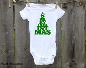 Merry Christmas Tree Onesies®, Baby's 1st Christmas, Toddler shirt, kids shirt, Christmas shirt