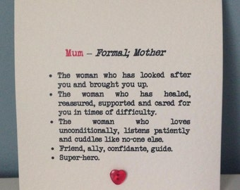 Mum's birthday / Mothers Day definition card