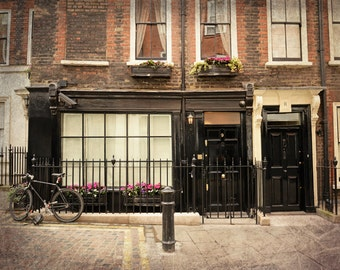 London Photography, English House, Soho, Fine Art Print, Bicycle, Flowers, Office Decor, Home Decor, Travel Photo, Wall Art