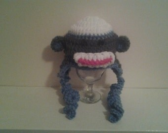 Crochet monkey  hat, newborn boy hat, crochet boy hat, crochet newborn hat, monkey hat, ready to ship