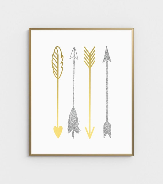 Gold Arrow Wall Decor : Gold wall art arrow print
