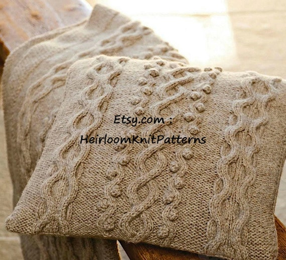 Knitting Patterns For Cushions And Throws : Cushion and Throw Knitting Pattern Aran/ by HeirloomKnitPatterns
