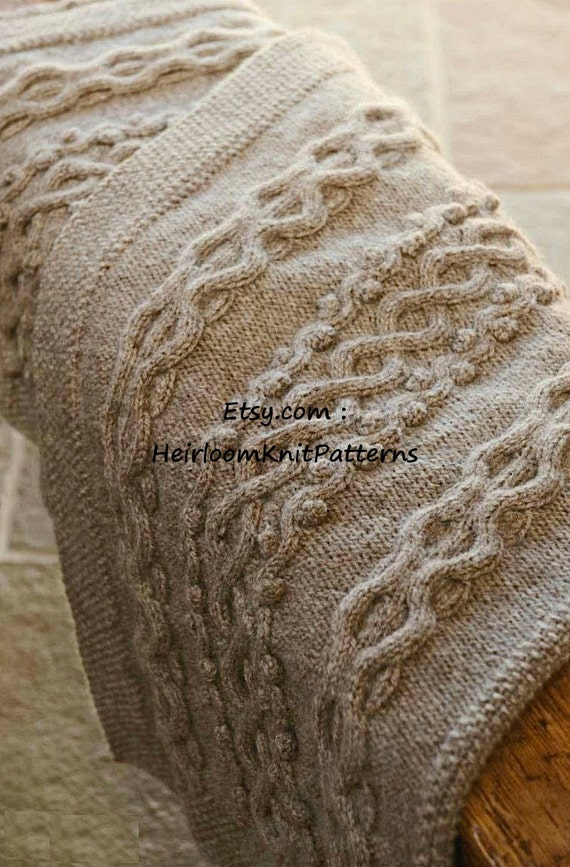 Aran Knitting Patterns For Throws : Aran Style Cushion & Throw Knitting Pattern Aran 10ply Worsted Home Acces...