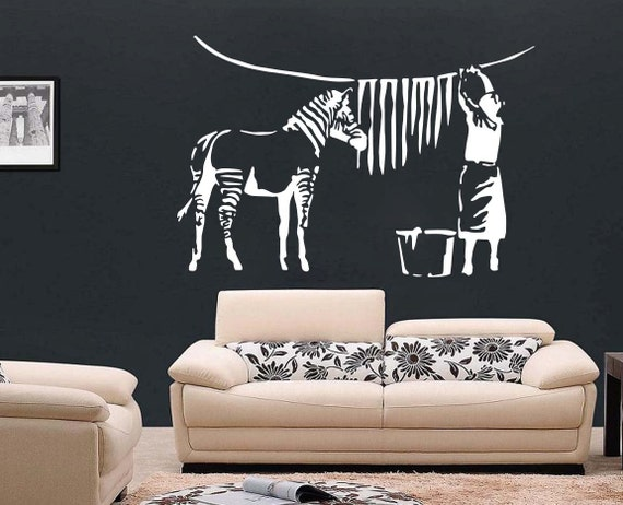 Zebra Stripes Wall Decor : Large banksy zebra stripes wall art decal mural sticker