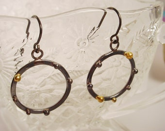 Sterling and 18k Gold Small Hoop Earrings 21mm Dangling Hoops Blackened Silver