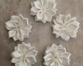 white flowers, small flowers, decrotive flowers, DIY flowers, satin flowers, headband flowers, baby flowers