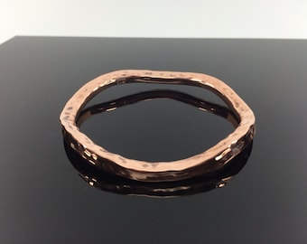 "Bent Hammered Copper Bangle // 100% Copper // Handmade // Size 7"" //"