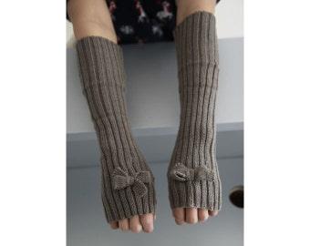 Khaki Bow knit  Women Gloves,Arm Warmers, Cable Knit Fingerless Gloves ,Light Gray Crochet Patterns,Fall /Winter Mittens,Wrist Warmers#6010