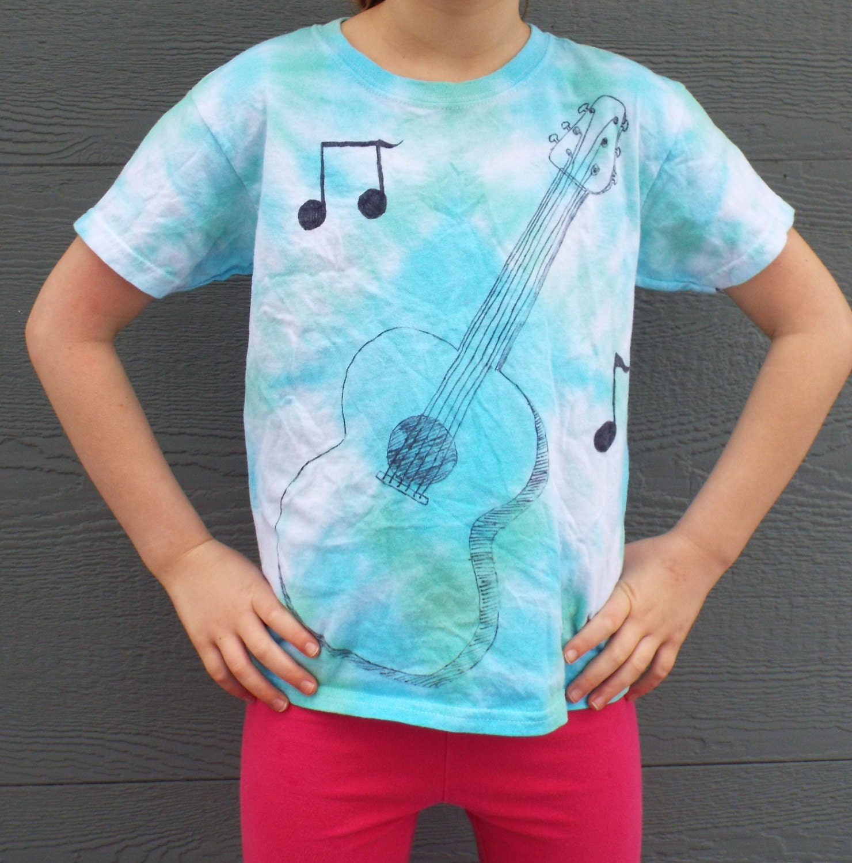 Custom tie dye guitar shirt kids guitar tshirt music note for Custom tie dye t shirts
