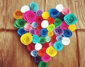 Hanging heart handmade decoration. Unique, nontraditional rose decor. Paper flowers. Rainbow roses. Wedding, bride, bridesmaid gift