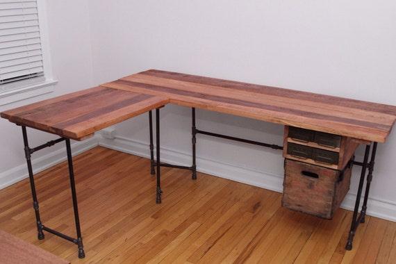 The Elle Desk Reclaimed Wood L Shaped Desk Wood Office Desk with Optional  Drawer L-. ◅ - The Elle Desk Reclaimed Wood L Shaped Desk Wood Office Desk