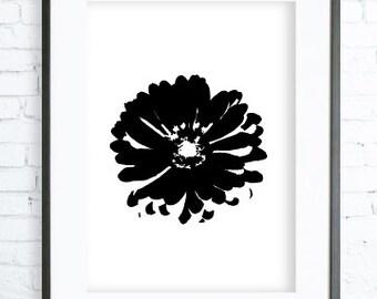 Instant Download Printable, Black Flower, Print Art,  modern art, digital art, Print, Flower art, Flower print