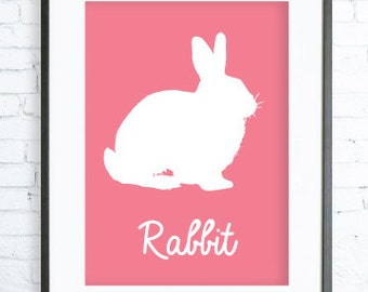Pink Rabbit  print Art, Instant Download Printable, Print Art,Pink Wall Decor, Rabbit Art Print