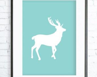 Turquoise Deer Print Art, Instant Download Printable, Christmas deer printable art, Print Art, Deer Wall Decor, Deer Art Print