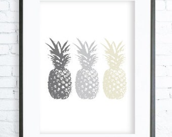 Grey Pineapple, Instant Download Printable, Pineapple Print Art,  modern art, digital art, Print, Pineapple art, Pineapple print