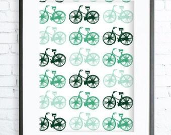 Green Bicycle Pattern, Modern Art Prints, Home Decor, Bedroom Art, Dining Room Art, Green Wall Art, Retro Bicycle
