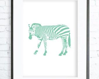 Mint Printable Zebra, Zebra Art Print, Mint Zebra Print, digital art, Zebra print,Zebra Art