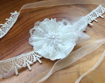Boho chic Bridal headband, skinny wedding hairband, Ivory lace, hand tied ribbon, bride, bridesmaids, flower girl by Blue Lily Magnolia,