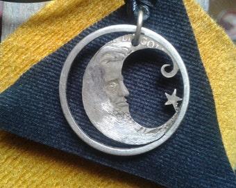 cut coin,moon,abraham lincoln,pendant,renovatiodesign,quiron1221
