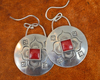 Earrings with Stamped Design and Jasper
