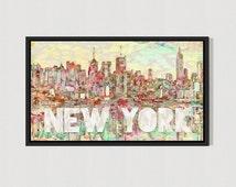 New York City Skyline art print wall art nyc colorful gift idea abstract modern art new york print