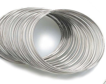 Silver Memory Wire; 80 Circles Silver Tone Bracelet Rigid Steel Memory Wire; 28 gauge; Jewelry Making