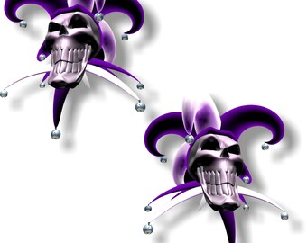 Vinyl sticker/decal Jester laughing skull purple