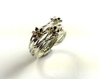 gorgeous ring  ,silver with gold ,