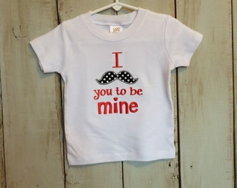 Valentine's Day Mustache Tshirt or Bodysuit for a Boy or Girl