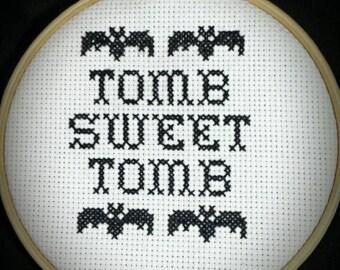 Handmade Haunted Mansion Cross Stitch