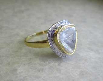 Polki Diamond Slice Ring, 14K Solid Yellow Gold Wedding Ring
