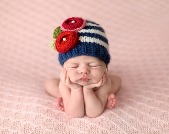 Bree Navy Stripe with Flowers Knit Baby Hat