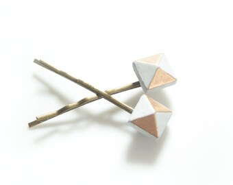 Concrete and Gold Hair Pins; Gray Concrete Bobby Pins