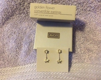 Vintage Golden Flower Convertible Earrings with surgical steel posts 1985 New in Box