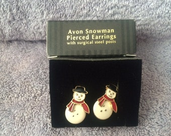 Vintage Avon Snowman Pierced Earrings with surgical steel posts New in Box