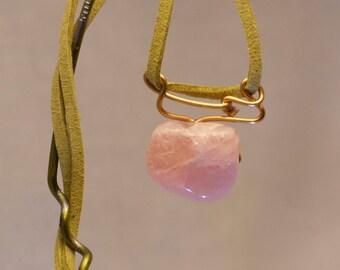 Rose Quartz pendant with Aluminum wire wrap