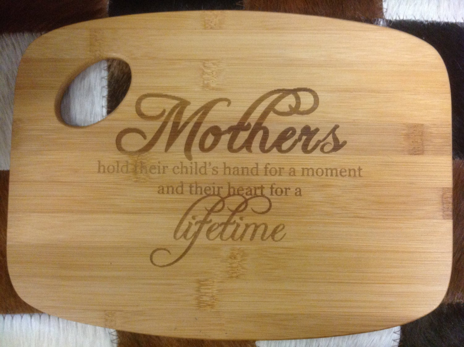 Laser Engraved Mother Bamboo Cutting Board