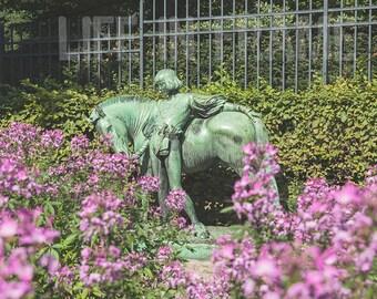 Horse,boy with horse,German sculpture,German garden, photography