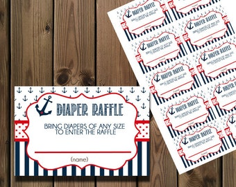 Nautical Diaper Raffle Ticket - Printable : Instant Download _73
