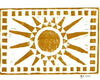 "Sun Linocut Print on 5""x7"" Blank Card with Envelope/Gold"