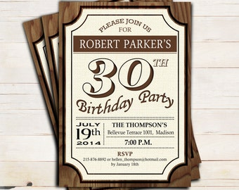 30th Birthday Party Invitation 40th / 50th / 60th / Any Age / Rustic Wood Printable / Digital Printable Invitation