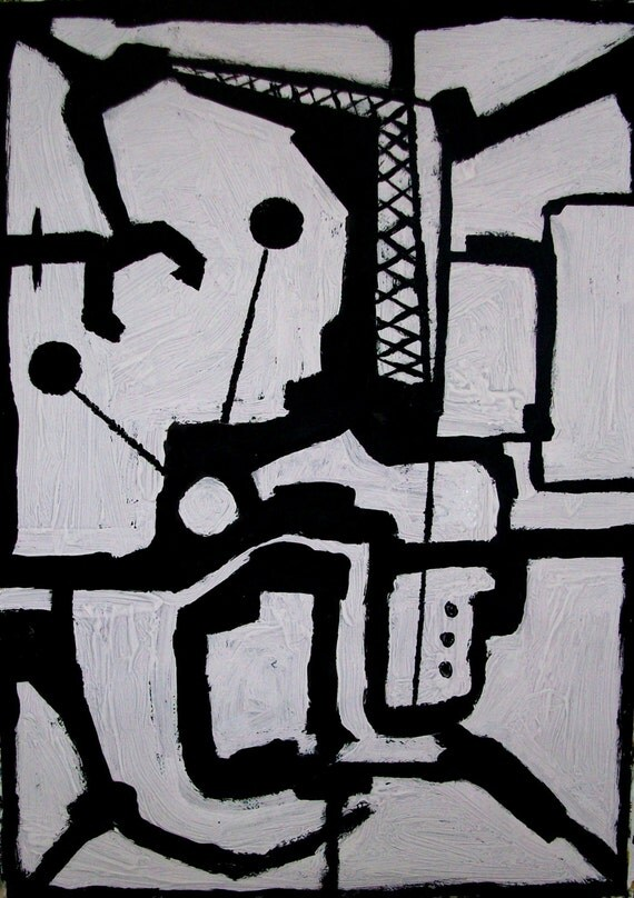 Original abstract paper painting black  and white modern minimalist textured art/27.5''x19.6''.