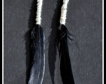 Black Feather Wire Wrapped Long Dangle Earrings