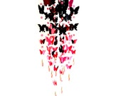 3d modern mobile butterfly for home decor. Pink, crimson, burgundy, purple, black butterfly and transparent pink beads.
