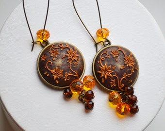 "earrings серьги ""Golden flowers"" , filigree, polymer clay, beads"