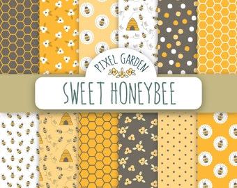 Sweet Honeybee Digital Paper Pack, Honeycomb Floral Scrapbooking Paper, Bumble Bee Digital Clip Art. Summer Clip Art.