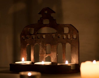 House Candle Holder-Tealight And Votive Candle Holder-Ceramics And Pottery